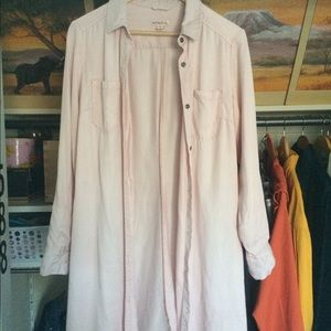 Blush Pink Button Down Dress with Pockets